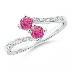 Two Stone Pink Sapphire Bypass Ring with Diamond Accents