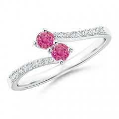 2 Stone Pink Sapphire Bypass Ring with Diamond Accent
