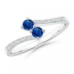 2 Stone Blue Sapphire Bypass Ring with Diamond Accent