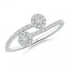 Two Stone Diamond Bypass Halo Ring