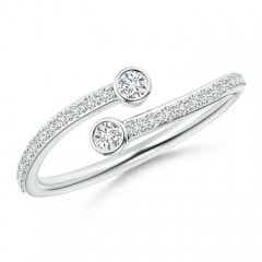 Bezel-Set Double Diamond Bypass Ring