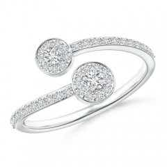 Classic Two Stone Diamond Halo Bypass Ring
