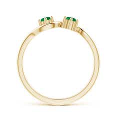 Toggle Round Two Stone Twist Emerald Ring