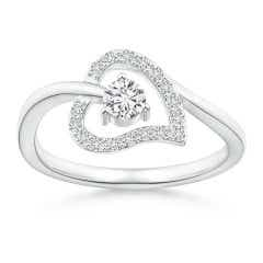Open Heart Round Diamond Bypass Promise Ring