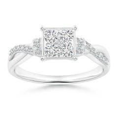 Angara Infinity Twist Round Diamond Ring with Prong Set sxvBj