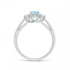 Toggle Oval Aquamarine and Round Diamond Three Stone Ring