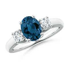 Oval London Blue Topaz and Round Diamond Three Stone Ring