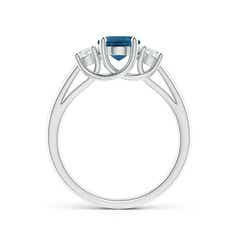 Toggle Oval London Blue Topaz and Round Diamond Three Stone Ring