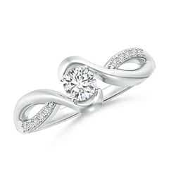 Solitaire Round Diamond Bypass Promise Ring for Her