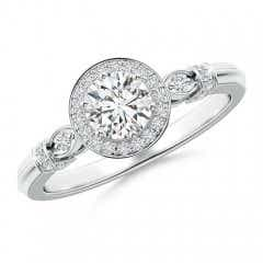 Vintage Style Round Diamond Halo Circle Ring