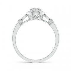 Toggle Vintage Style Round Diamond Halo Circle Ring