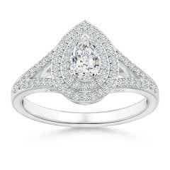 Split Shank Pear Diamond Double Halo Engagement Ring