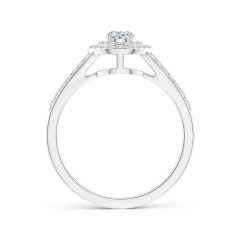 Toggle Split Shank Pear Diamond Double Halo Engagement Ring