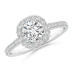 Round Diamond Halo Ring with Accents