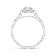 Toggle Round Diamond Halo Ring with Accents