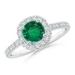 Round Emerald and Diamond Halo Ring (GIA Certified Emerald)