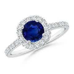 Round GIA Certified Sapphire Halo Ring with Diamond Accents