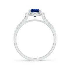 Toggle Round GIA Certified Sapphire Halo Ring with Diamond Accents
