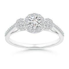 Three Stone Round Diamond Halo Ring