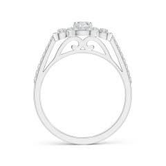 Toggle Three Stone Round Diamond Halo Ring