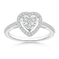 Halo Diamond Heart Promise Ring with Prong Setting
