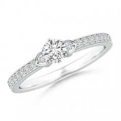 Solitaire Round Diamond Promise Ring with Diamond Accents