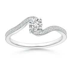 Round Diamond Solitaire Bypass Promise Ring with Diamond Accents