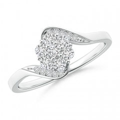 Round Cluster Diamond Bypass Ring with Prong Setting