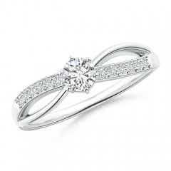Six Prong-Set Round Solitaire Diamond Split Shank Ring