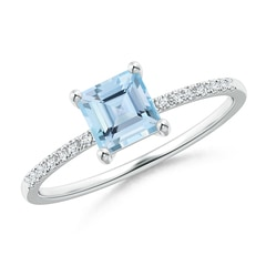Square Aquamarine Ring with Diamond Studded Shank