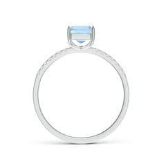 Toggle Square Aquamarine Ring with Diamond Studded Shank