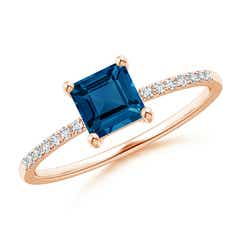 Square London Blue Topaz Ring with Diamond Studded Shank