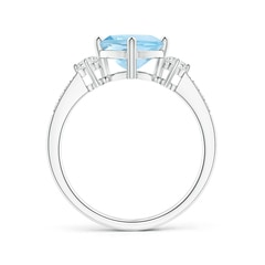 Toggle Cushion Sideways Aquamarine and Diamond Ring