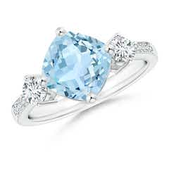 Cushion Sideways Aquamarine and Diamond Ring