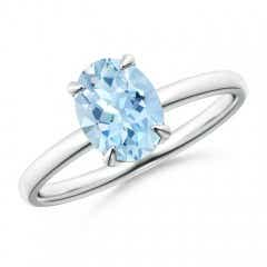 Claw-Set Oval Aquamarine Solitaire Ring