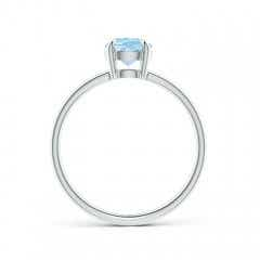 Toggle Claw-Set Oval Aquamarine Solitaire Ring
