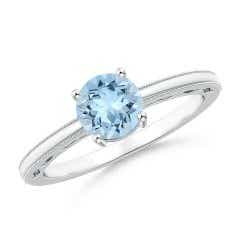 Vintage Style Aquamarine Solitaire Ring with Milgrain