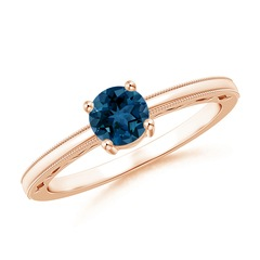 Vintage Style London Blue Topaz Solitaire Ring with Milgrain