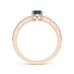 Toggle Vintage Style London Blue Topaz Solitaire Ring with Milgrain