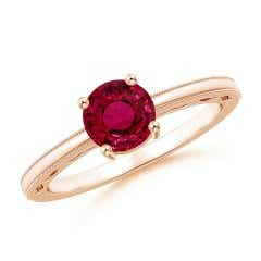 Vintage Style GIA Certified Ruby Solitaire Ring with Milgrain