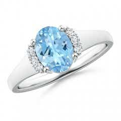 Oval Aquamarine with Round Diamond Collar Solitaire Ring