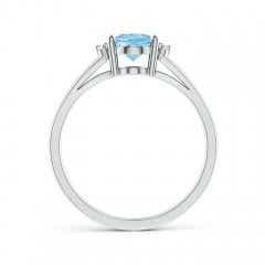 Toggle Oval Aquamarine with Round Diamond Collar Solitaire Ring