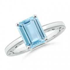 Emerald Cut Aquamarine Solitaire Ring with Prong Setting