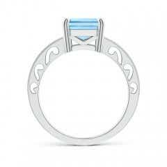 Toggle Emerald-Cut Aquamarine Solitaire Ring with Milgrain