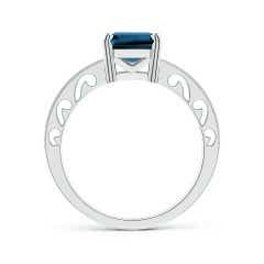 Toggle Emerald-Cut London Blue Topaz Solitaire Ring with Milgrain