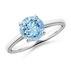 Classic Prong-Set Round Aquamarine Solitaire Ring