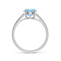Toggle Classic Prong-Set Round Aquamarine Solitaire Ring