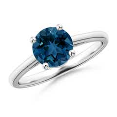 Classic Prong-Set Round London Blue Topaz Solitaire Ring