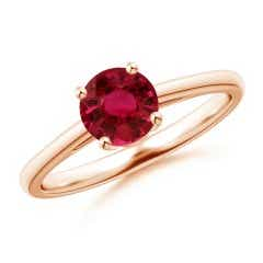 Prong Set GIA Certified Round Ruby Solitaire Ring