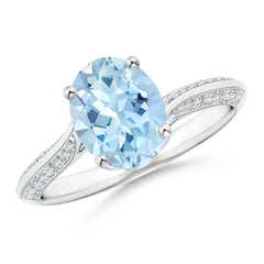 Oval Aquamarine Bypass Ring with Diamond Accents